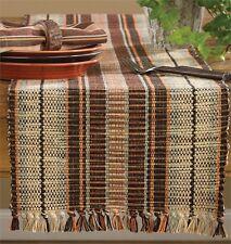"Birch Wood Striped Cotton Table Runner w/Fringe 13""x36"""