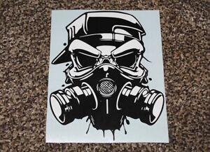 Skull Gas Mask Hat Vinyl Decal Sticker w/ Background PC Laptop Truck Car Window