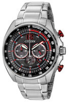 Citizen WDR Eco-Drive Men's Chronograph Red Accents 45mm Watch CA4190-54E