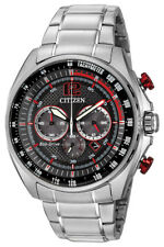 Citizen Eco-Drive Men's WDR Chronograph Red Accents 45mm Watch CA4190-54E