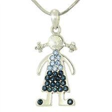 "GIRL W Swarovski Crystal Blue Charm Love Sister Friend Pendant Gift 18"" Chain"