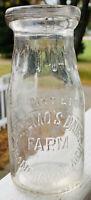Vintage 1932 Half Pint Milk Bottle Deremo's Dairy Farm Grand Haven MI