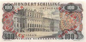Austria  100/-   1.7.1960  P 138s  Specimen # 084  Uncirculated Banknote