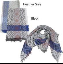 Men Women Reversible effect diamond yarn Square Scarf w/ solid stripe Wrap shawl