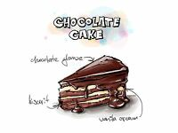 ART PRINT POSTER PAINTING DRAWING TASTY FOOD RECIPE CHOCOLATE CAKE LFMP1126