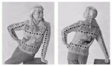 LADY'S Early 1960 S concentrarono Renna trama grossa giacca Knitting Pattern 10159