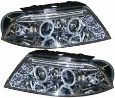VW PASSAT FACELIFT B5 00-04 CHROME LED ANGEL EYE PROJECTOR FRONT HEADLIGHTS