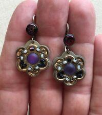 "Ayala Bar Earrings Flower Steampunk Dangle Artisan Bead Purple Tones Boho 1.5"""
