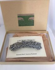 Oak Leaves Pewter Barrette Hair Clip by Oberon Design New In Box