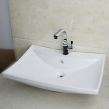 Bathroom Sink White Ceramic WashBasin Chrome TD30058453 Sink Faucet Mixer Tap