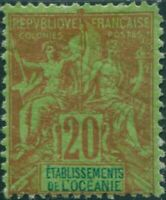 French Oceania 1892 SG7 20c red and blue on green navigation and commerce MH