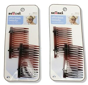 Scunci Hair Styling Combs Faux Tortoise 2 Pack Times 2