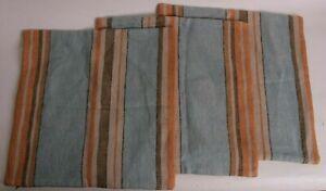 "set/3 Pottery Barn Lonnie Stripe pillow covers, neutral, 18"" *sample* blue multi"