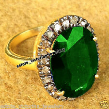 Estate Vintage Style 0.98Ct Rose Cut Diamond Emerald Studded Silver Jewelry Ring