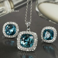 18K WHITE GOLD FILLED BLUE CLEAR CRYSTAL NECKLACE STUD EARRINGS SET AMAZING