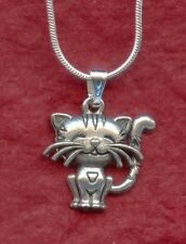 Kitten Necklace kitty cat silver plated chain 18inch 45cm pewter girl