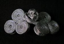 FG216-2 Metallic Ribbon Coils Frog Closure Buttons Knots Silver 5pairs Designer