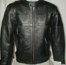 Mens Milwaukee Vented Top Grain Naked Leather Motorcycle Jacket SM MED 2X 3X 5X