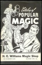 Rare Magic Book Catalog Of Popular Magic H. E. Williams Tricks Conjuring