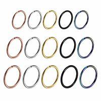 15pcs Stainless Steel Nose Cartilage Hoop Septum Ring Studs Body Piercing 8-10mm