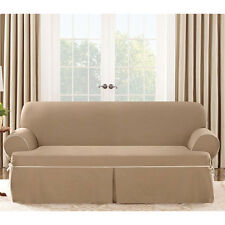 Loveseat Cocoa Cotton Duck canvas w piping t cushion Slipcover sure fit