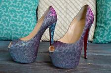 100% Authentic CHRISTIAN LOUBOUTIN Daffodile Highness Glitter Heels Sz 36.5 SALE