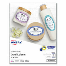 Avery Oval Labels With Sure Feed And Easy Peel 2 X 333 Glossy White 80pack 22820