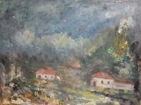 Vintage expressionist oil painting landscape houses signed