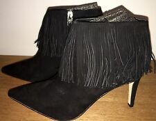 Sam Edelman Kandice Black Kid Suede Leather Fringed Ankle Boot BN Boxed U.K 4.5