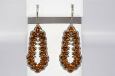 $500 21.02CT NATURAL GOLEN ORANGE CITRINE & TOPAZ CLUSTER DROP EARRINGS SILVER