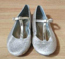 Lands End GOLD Sparkle Glitter Ballet Flats Dress Shoes Big Girls Size 1 USED