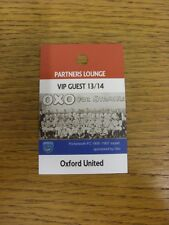 03/08/2013 Ticket: Portsmouth v Oxford United [Partners Lounge VIP Guest Pass] .