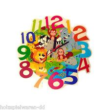 "Hess 30011 Wall Clock "" Jungle "" Colorful Printed QUARTZ WOOD ERZGEBIRGE NEW! #"