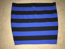 NWOT MICHAEL Michael Kors Sz 12  Blue & Black Stripe Stretch Knit Mini Skirt NEW