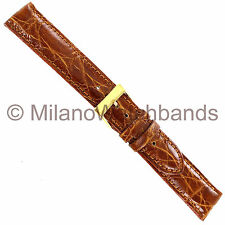 18mm Brown Morellato Amadeus Genuine Crocodile Stitched Padded Mens Watch Band