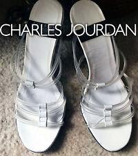 $450 Charles Jourdan Floating Slides Sandals Clear Straps Bridge Heels  5 & 4.5