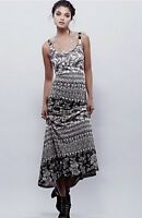 NEW Free People X Novella Royale black ivory Print Stretch Form Fit Maxi Dress S
