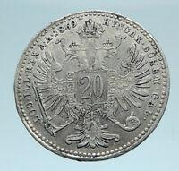 1869 AUSTRIA Roman Emperor Franz I Genuine Silver 20Kreuzer Austrian Coin i78360
