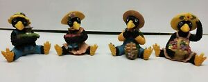 Black Birds Crows Figurines Country Family Set of 4 Shelf Sitters 4'' Tall
