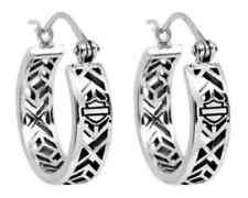 Harley-Davidson Women's Earrings, Aztec Bar & Shield Hoops, Silver HDE0371