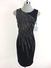 Calvin Klein Black Womens US Size 4 Embellished Scuba Sheath Dress 096