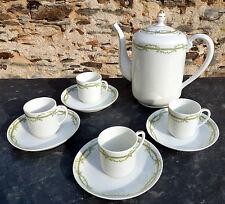 Limoges porcelaine ancienne cafetière + 4 tasses & soucoupes Art déco