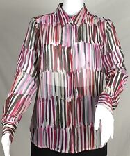 Liz Claiborne Pink Brown Grey Watercolor Stripe Sheer Blouse Size Small Career