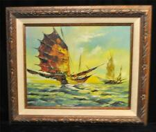 Vintage Oil Painting of Chinese  Ships by N. Blue #2