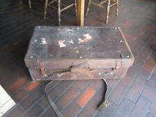 St C.c. K Leather Storage Trunk Very Old Vintage Industrial Steamer Army