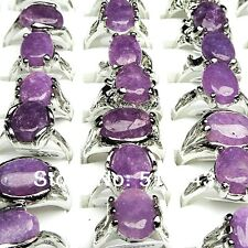 12pcs Purple Natural Stone Rings Women's Crystal Ring Wholesale Party Jewelry