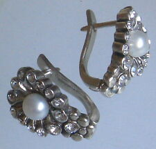 Silver plated Russian earrings in Shape of shell natural pearl and crystal