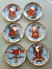 6 Debbie Mumm ltd. ed. Christmas Santa Plates Franklin Mint Royal Doulton 8""
