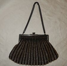 Vintage Black With Clear Glass Beaded Evening Hand Bag Purse Chain kiss lock