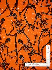 Halloween Skeleton Star Bones Orange Cotton Fabric Benartex Gothic Glam  - Yard